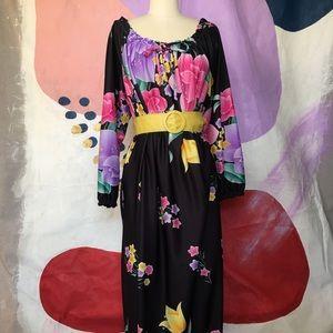 VINTAGE 70s/80s Black and Floral Caftan Mumu Dress